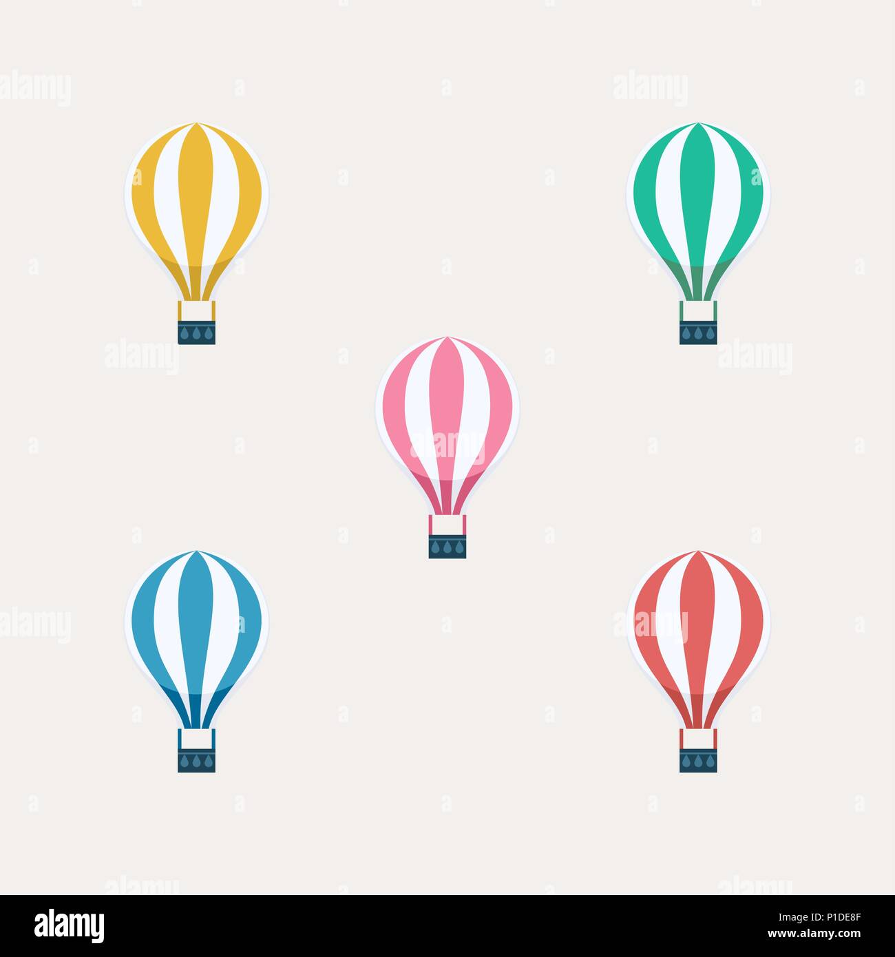 Hot air balloon set on isolated background  Colorful balloons flying