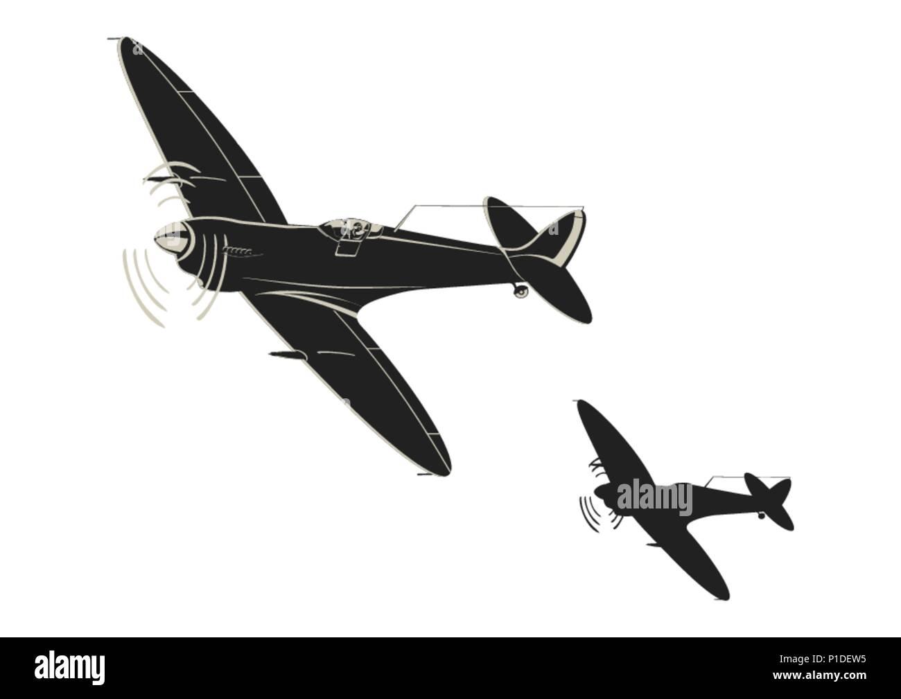 Simplistic sticker of World War II fighter aircraft. Flat vector. - Stock Vector