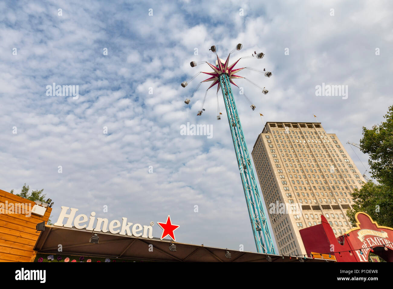 LONDON, ENGLAND - AUGUST 18: The Star Flyer ride in London, England on August 18, 2016. Stock Photo