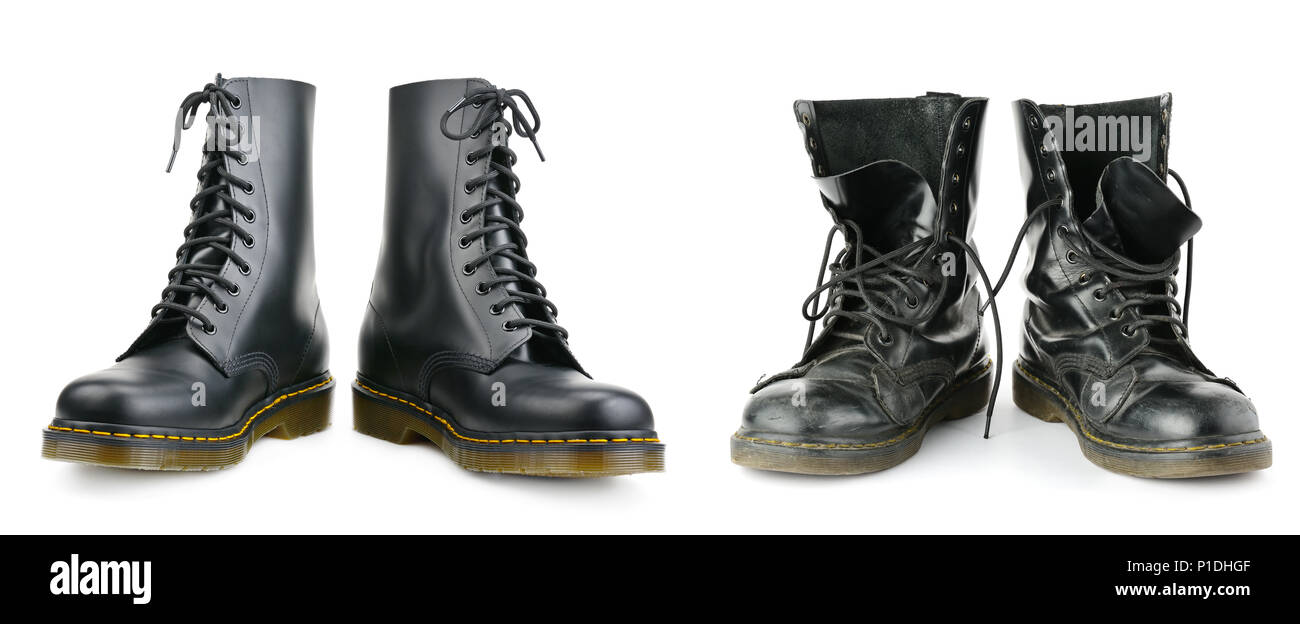 One and the same pair of black men's boots. New and worn out. Isolated on white background. - Stock Image