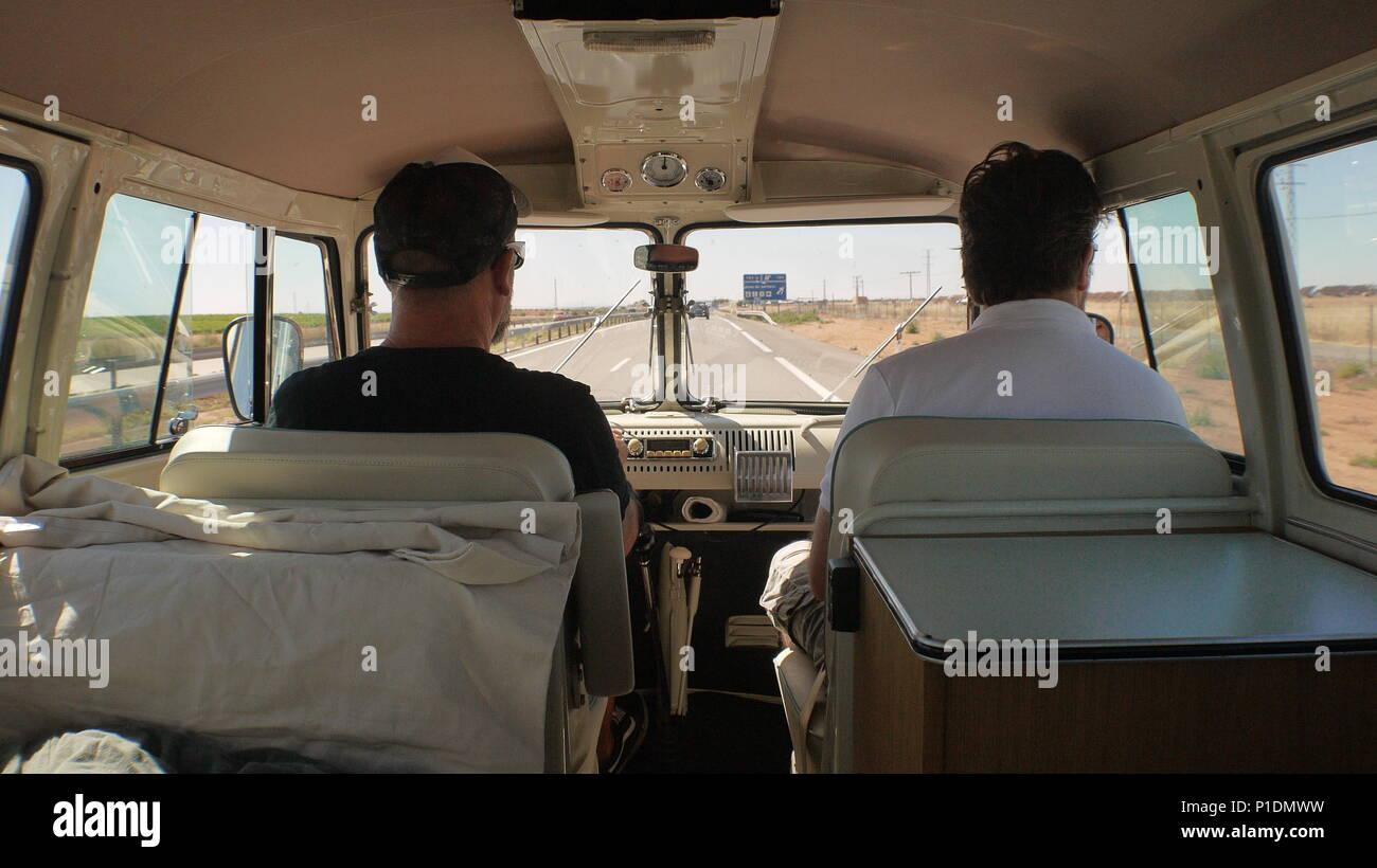 Road trip in a split screen Volkswagen van. - Stock Image