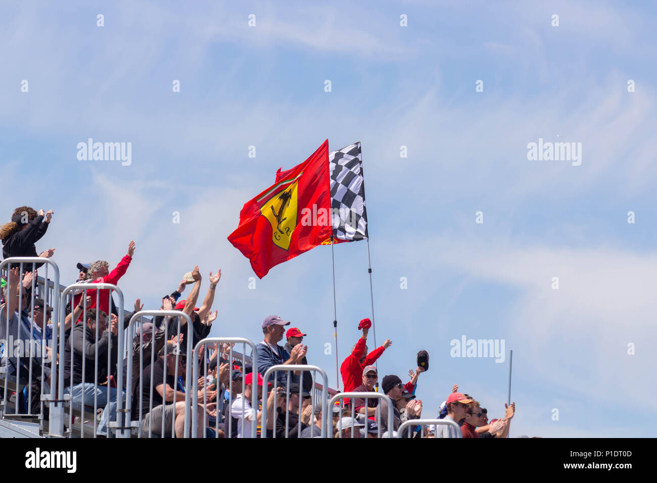 Ferrai flag at F1 race in Montreal Stock Photo