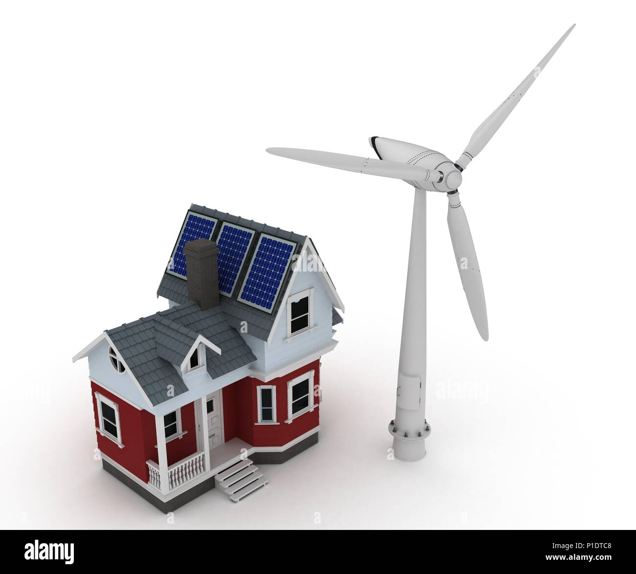 3d render of Solar panels on a house with wind turbine Stock