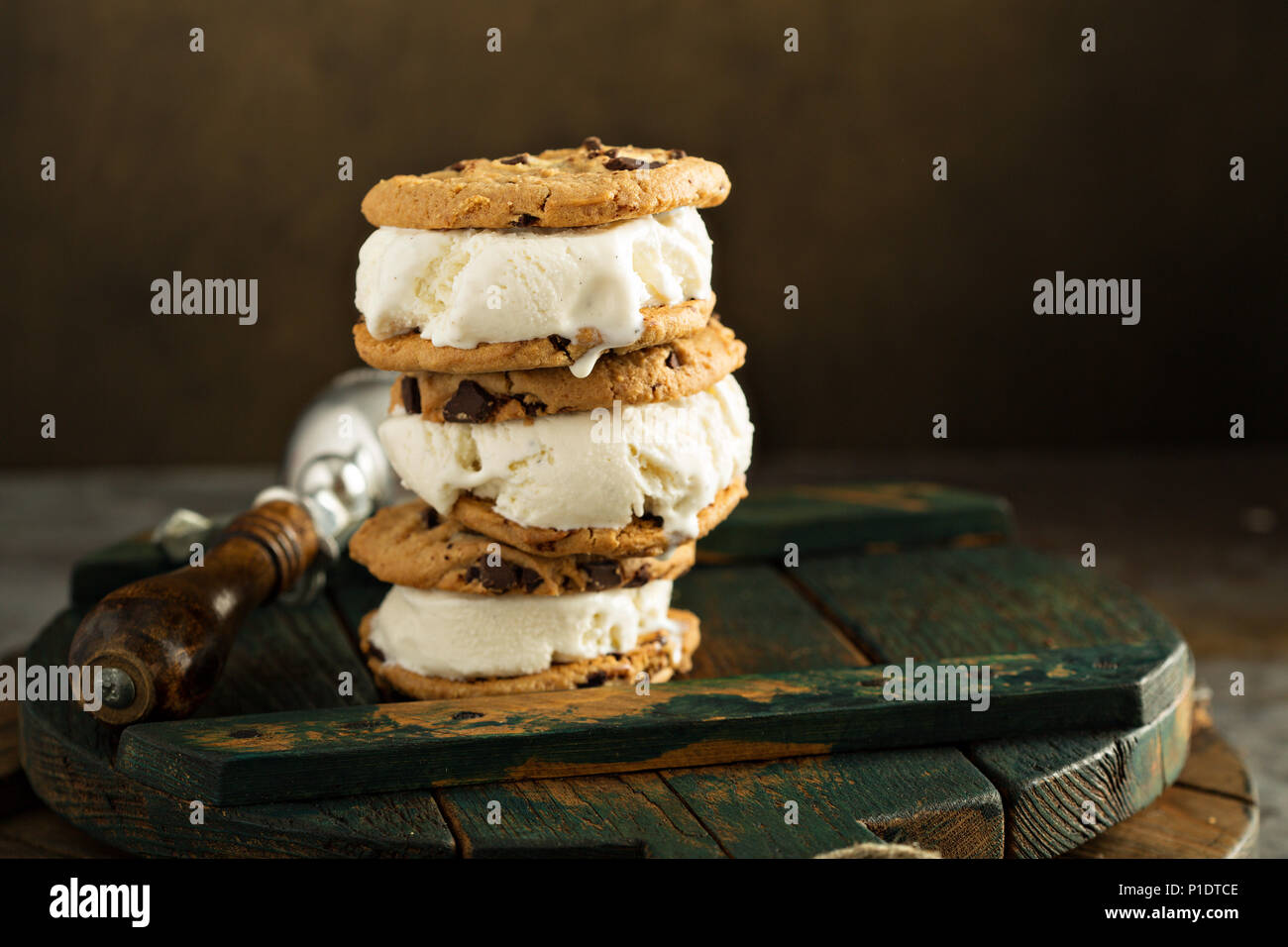 Homemade ice cream sandwiches with chocolate chip cookies Stock Photo