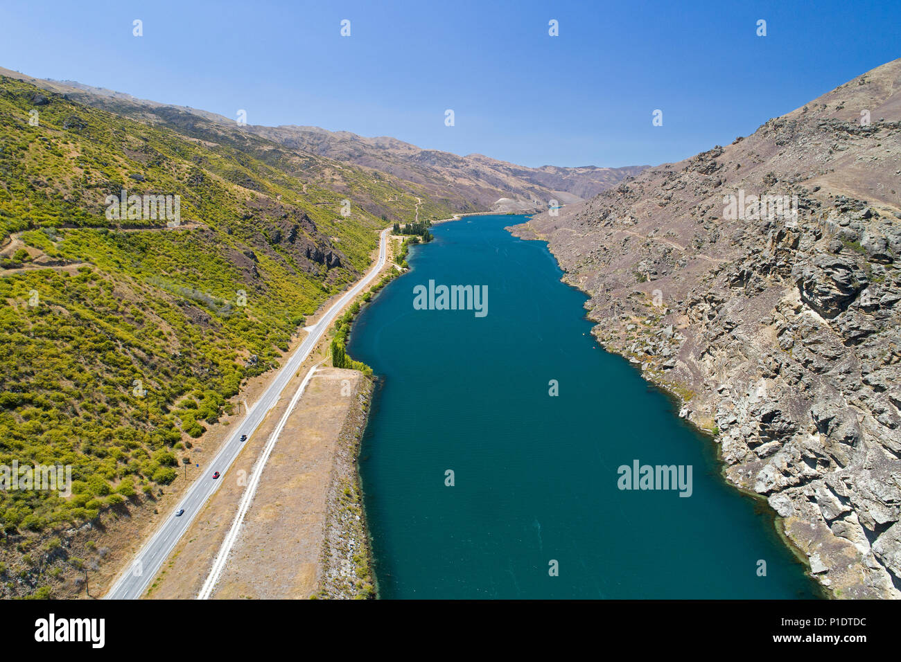 Lake Dunstan and State Highway 8, Cromwell Gorge, Central Otago, South Island, New Zealand - drone aerial - Stock Image