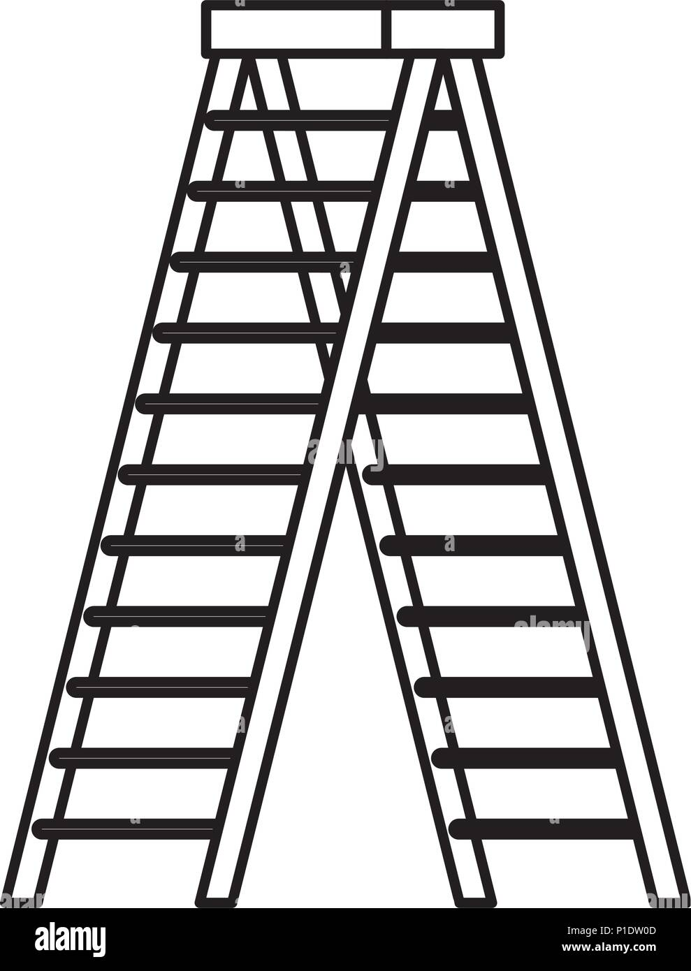 stepladder tool isolated icon Stock Vector