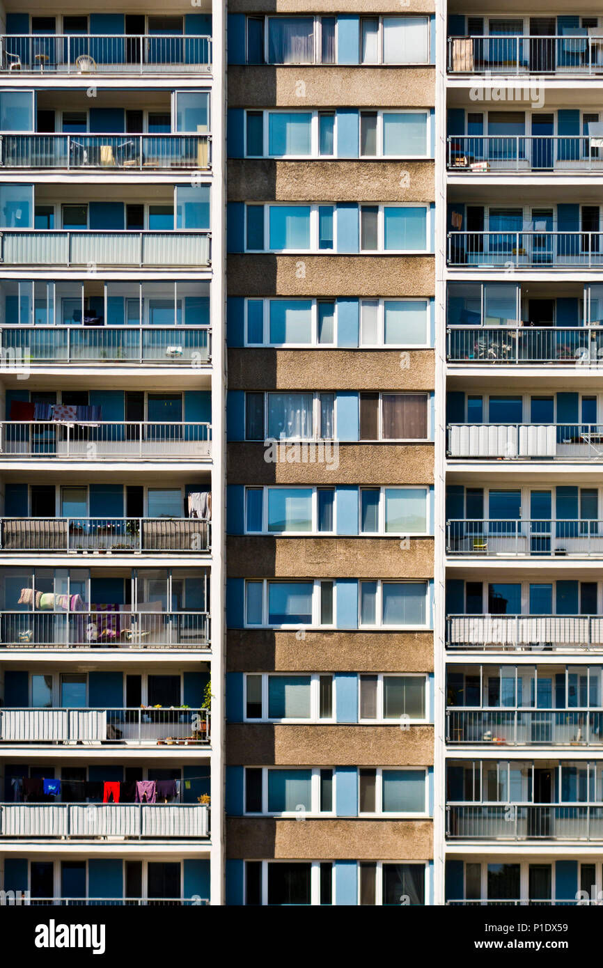 windows and balconies of a multi-story apartments building - Stock Image