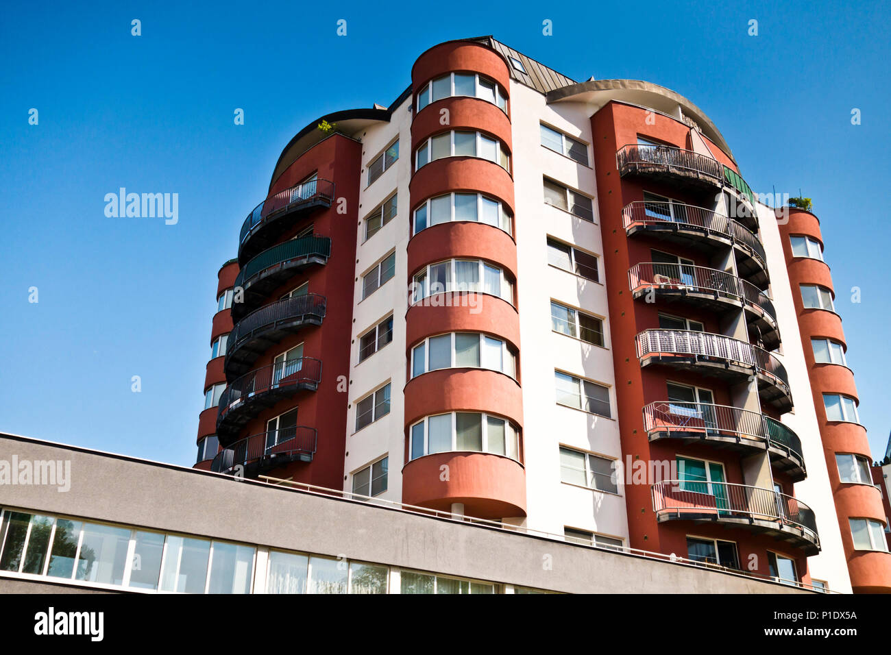 modern residential multi-story apartments building - Stock Image