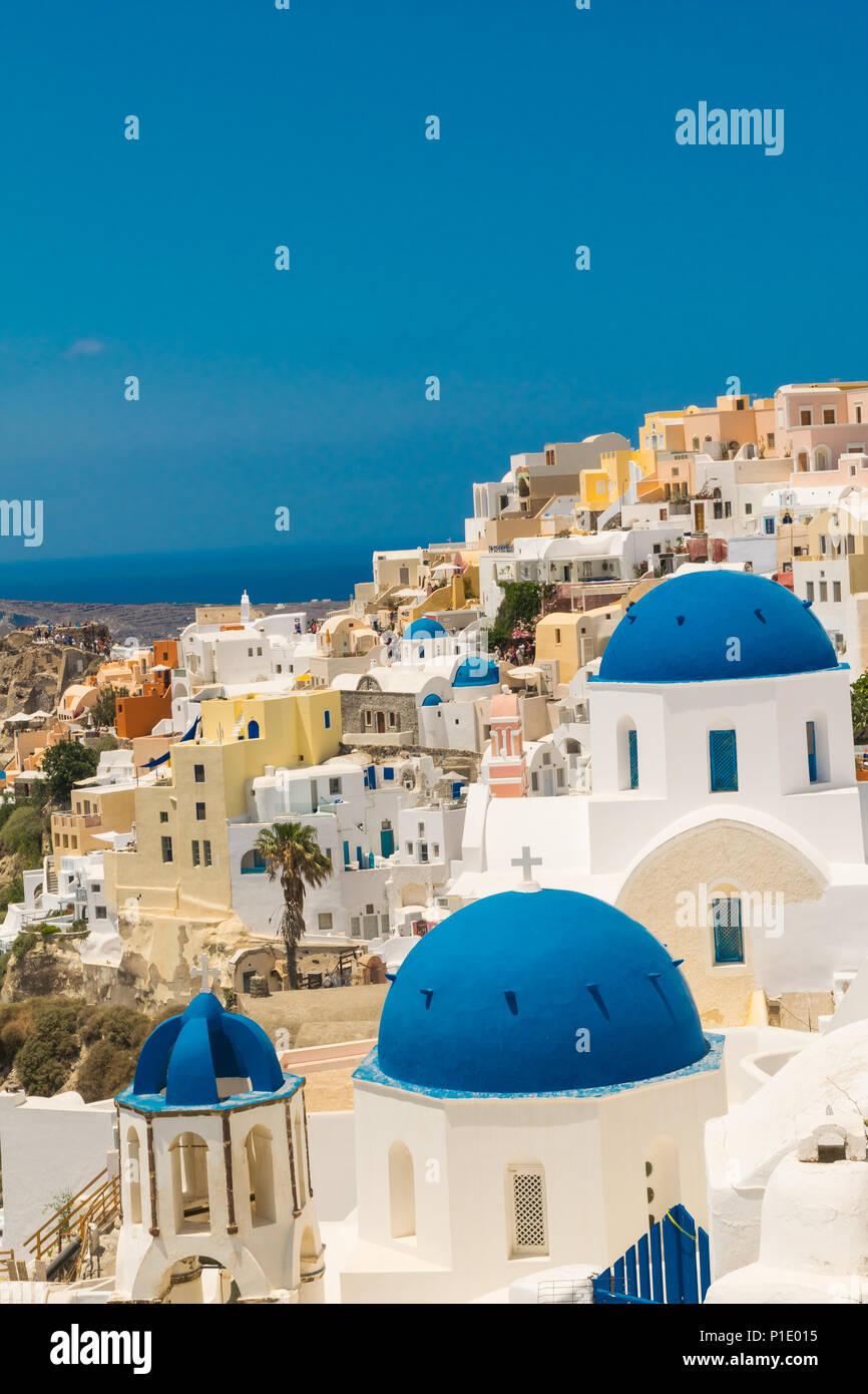 Santorini Island in Greece. Panoramic view. Tourist destination. Summer vacations - Stock Image
