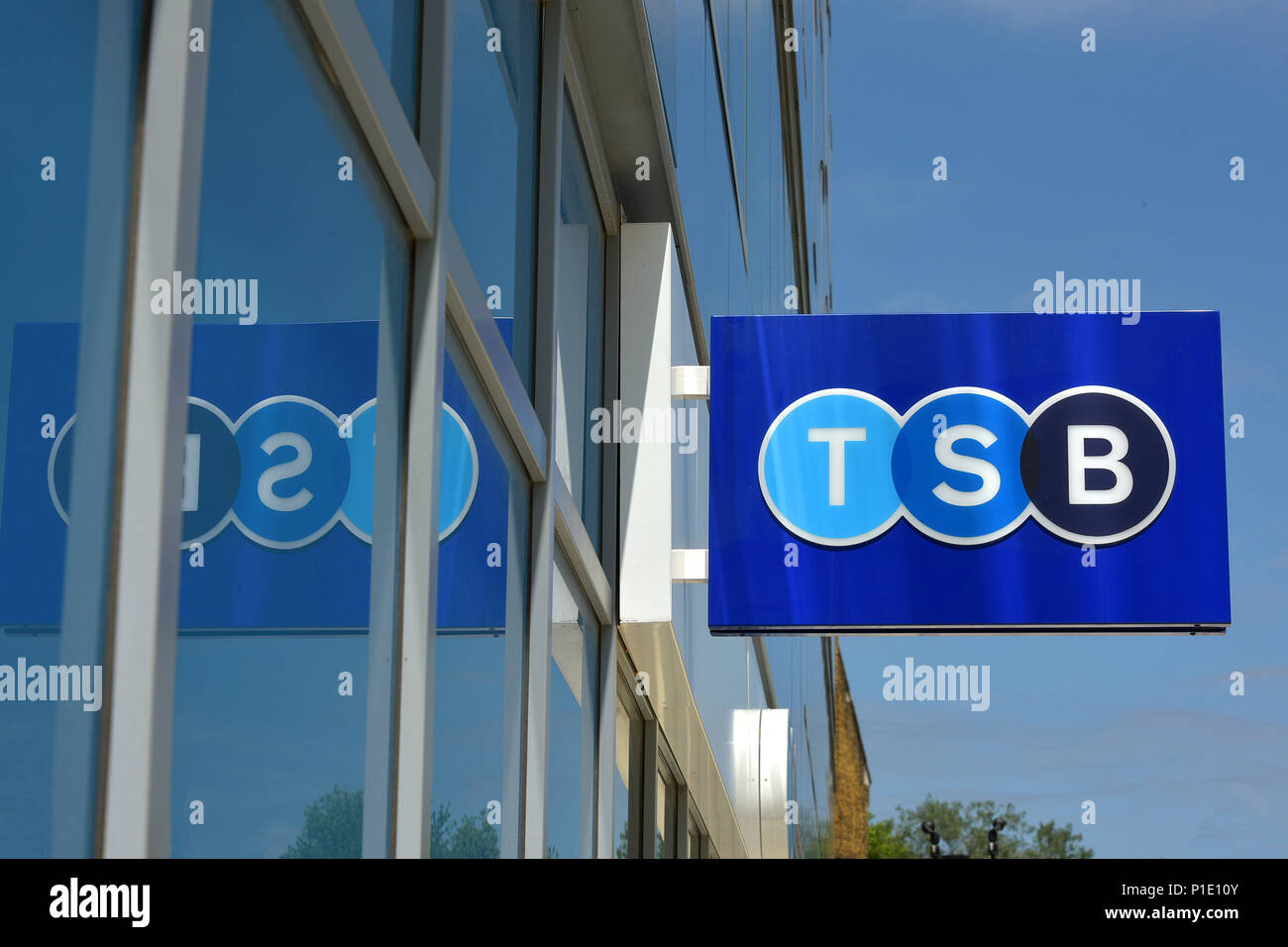 The logo of the bank TSB on the outside of its branch in Archway, North London. - Stock Image