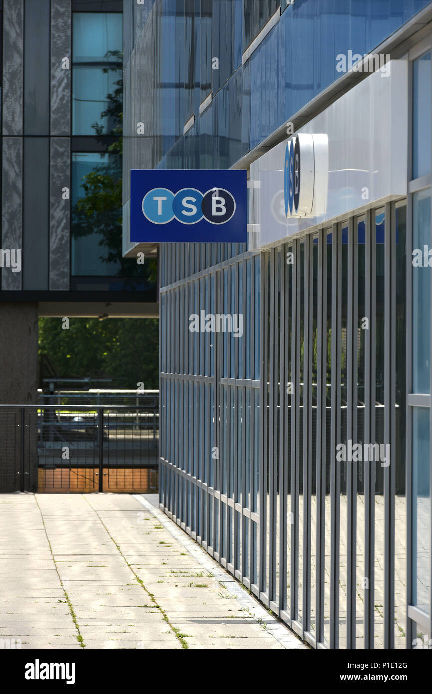 The logo of the bank TSB on the outside of its branch in Archway, North London. Stock Photo
