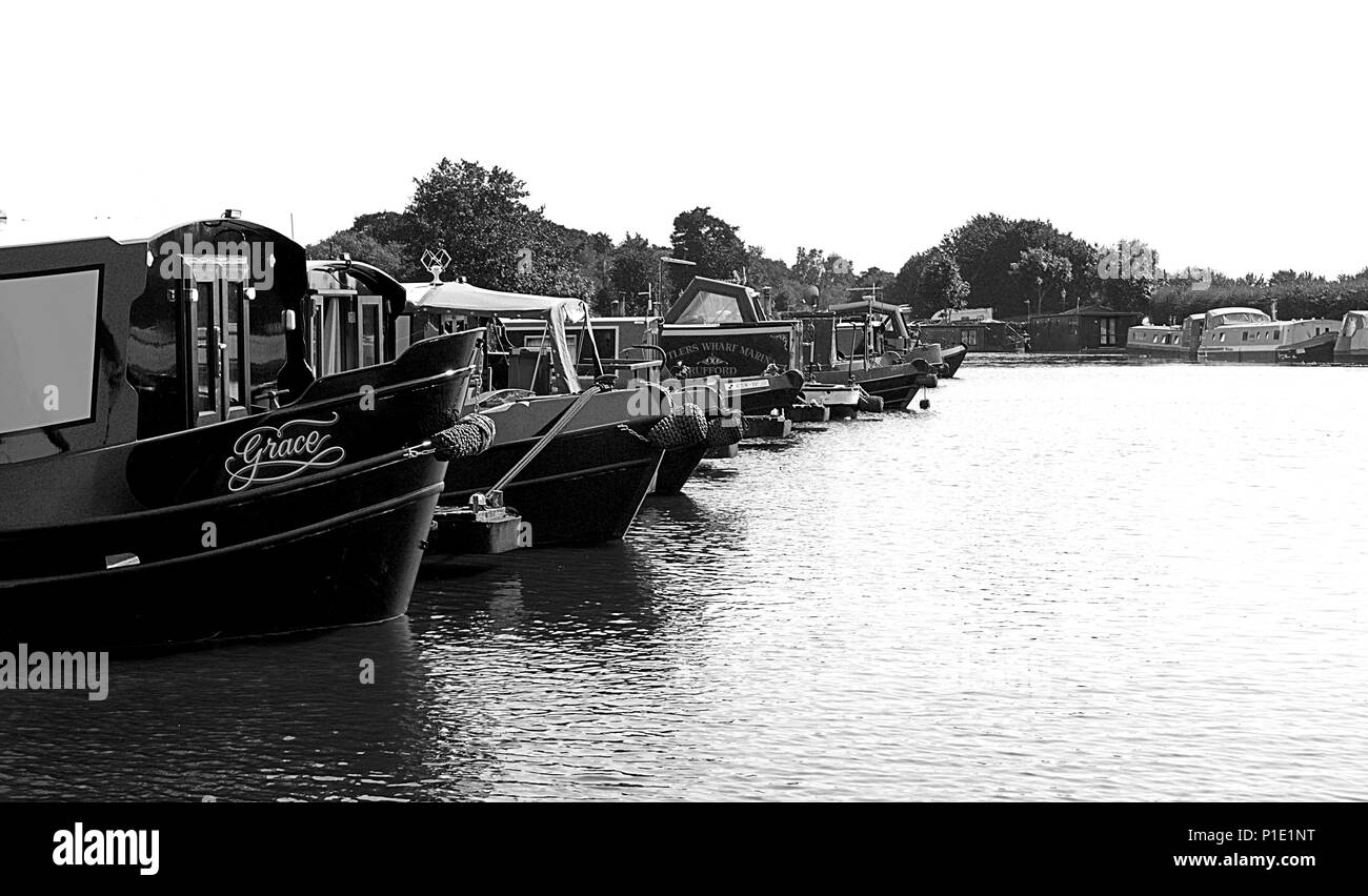 House Boats & Canal Barges at Rufford Marina. UK. Stock Photo