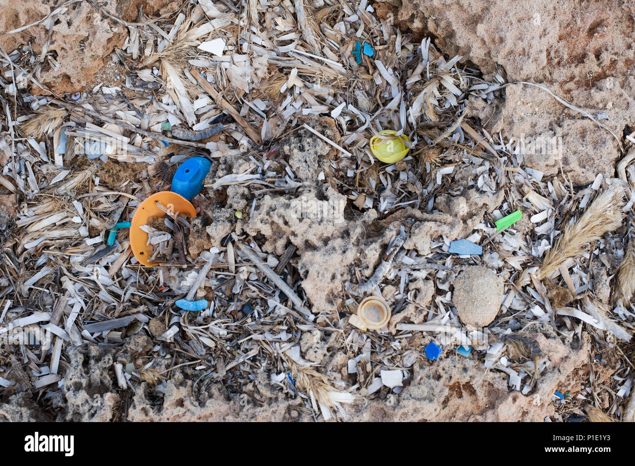 A Coast Polluted by the Plastic Garbage. - Stock Image