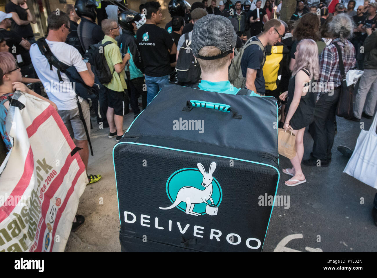 Torrington Place, London, August 12th 2016. Deliveroo is embroiled in a row over a new pay structure with its couriers as up to 100 workers and suppor - Stock Image