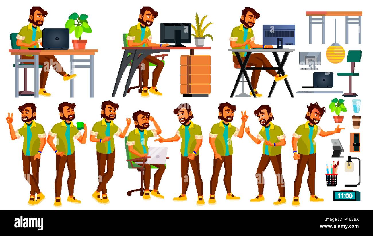 Office Worker Vector. Indian Emotions, Various Gestures. Business Human. Smiling Manager, Servant, Workman, Officer. Poses. Flat Character Illustration - Stock Image