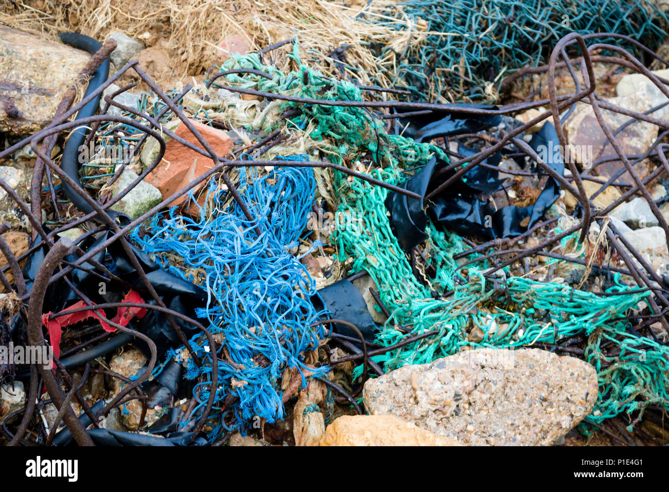 Plastic litter and other rubbish left on the beach on the Isle of ...