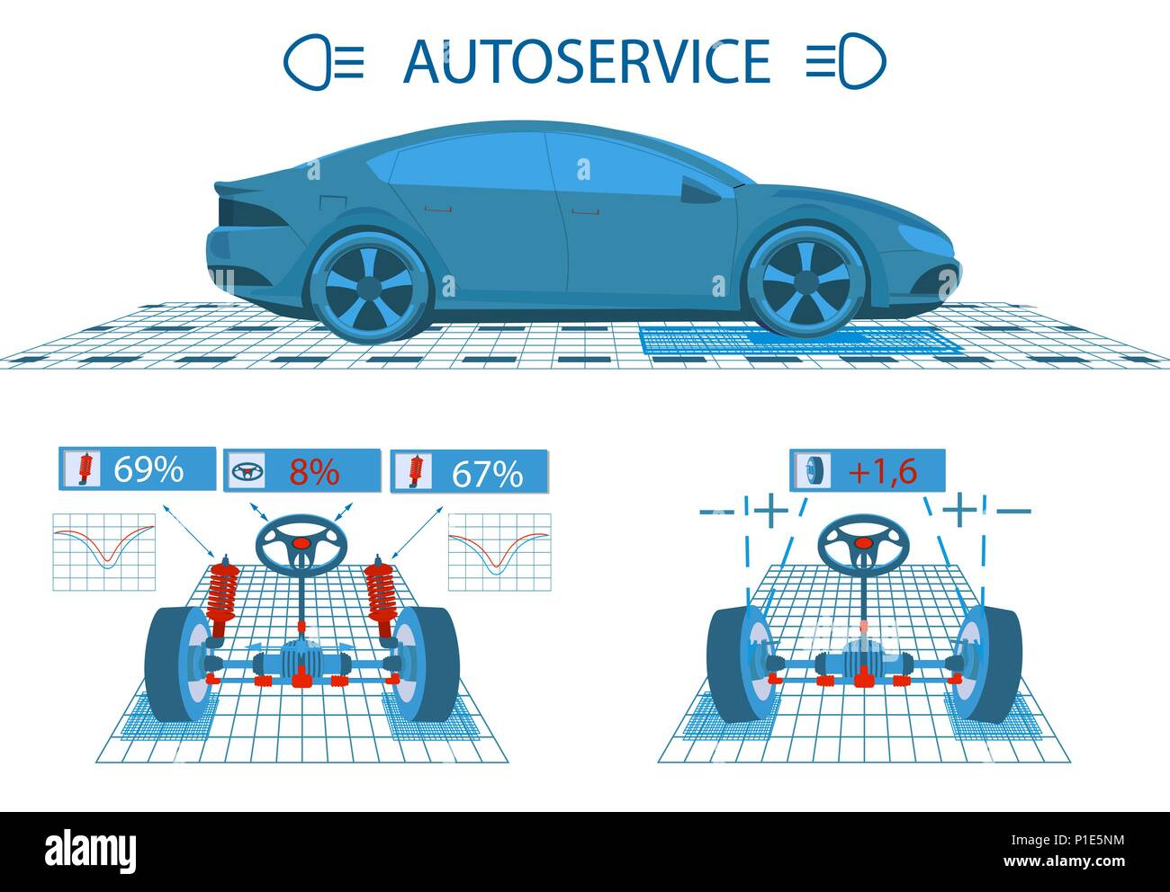 Car service. Scanning. Graphical interface. Diagnostic alignment of the wheels. Check of shock-absorbers, the steering mechanism. Side view and perspective. illustration - Stock Image