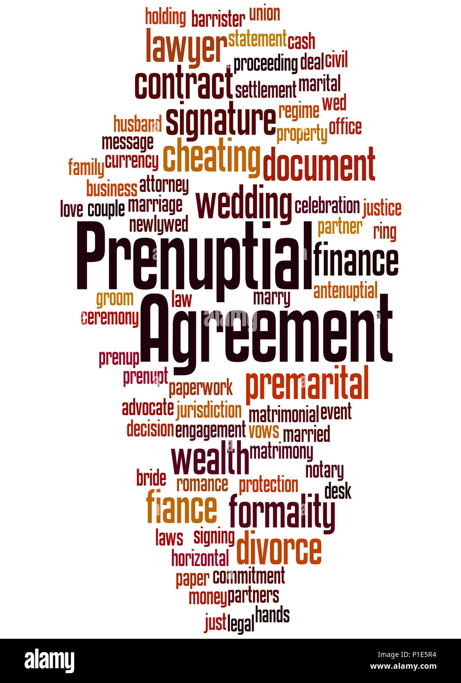 Prenuptial Agreement Word Cloud Concept On White Background Stock
