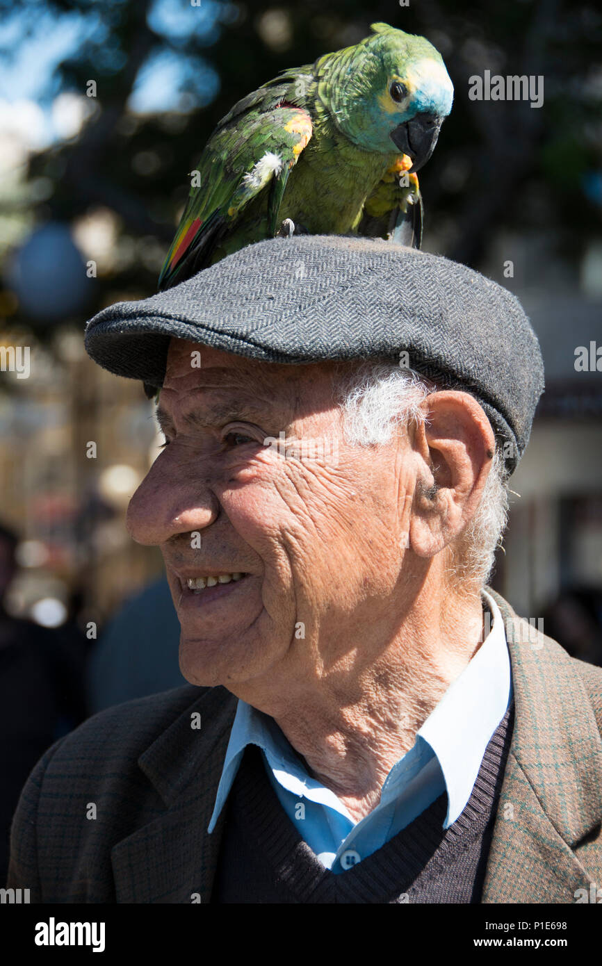 Nicosia, Cyprus 2013. Character with parrot on head. Stock Photo