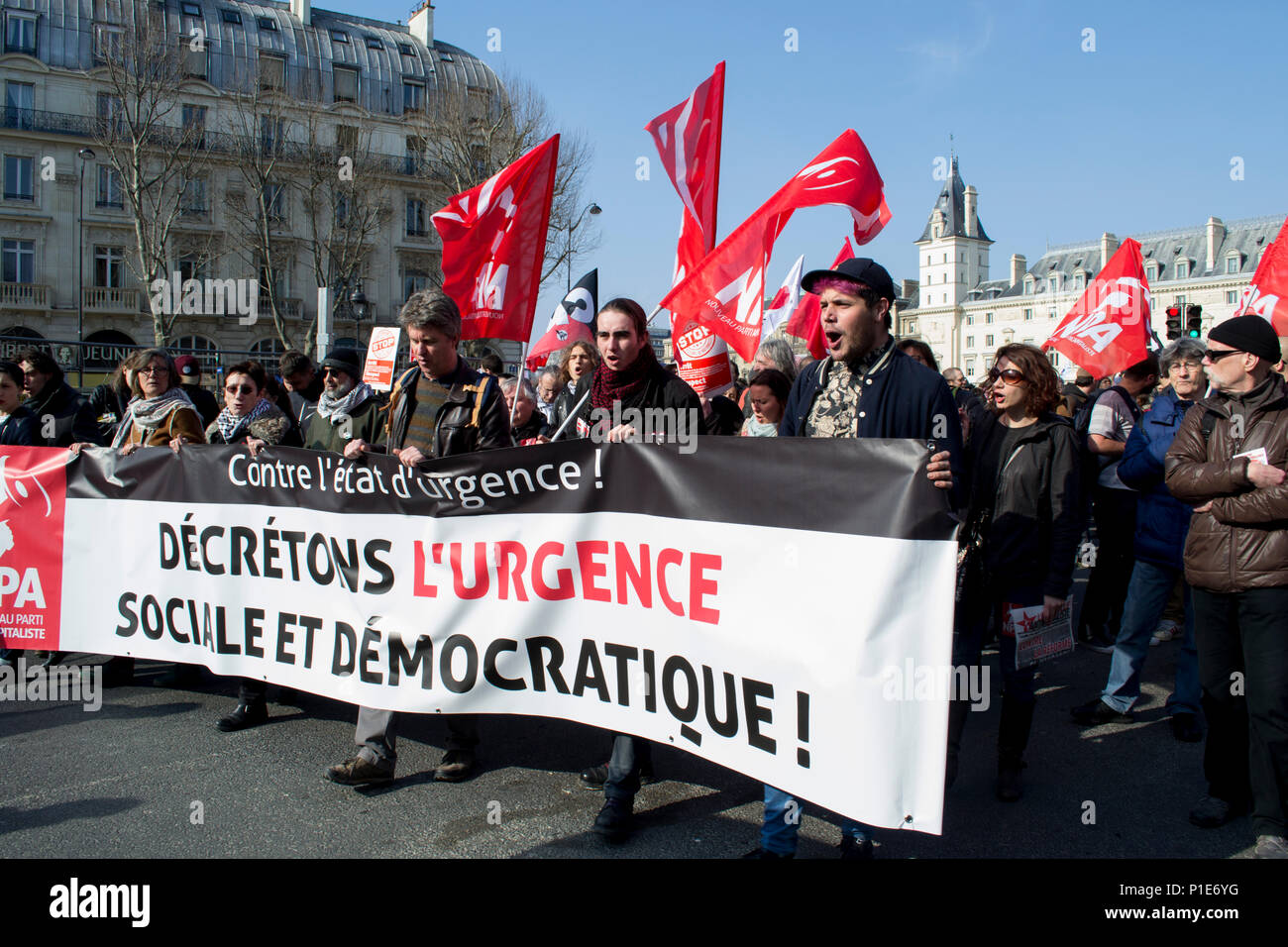 Paris, France 2016. Marching against the state of emergency - Stock Image