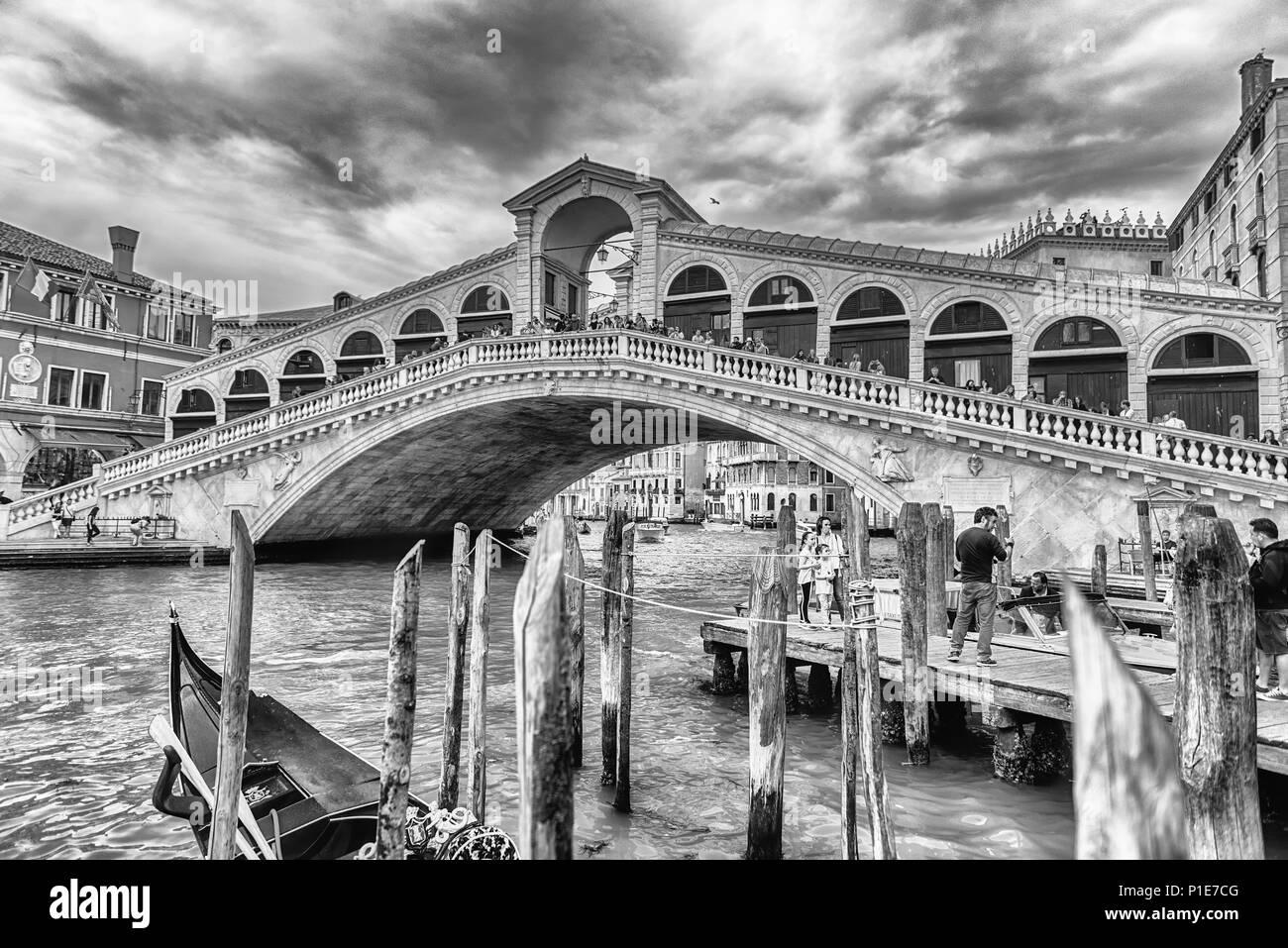Venice italy april 29 view of rialto bridge iconic landmark in venice