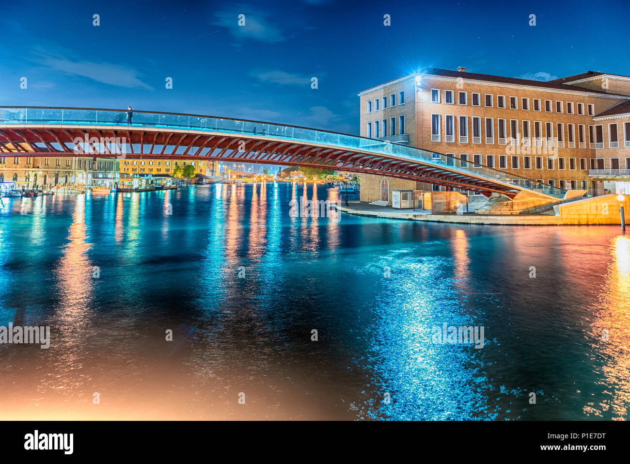 VENICE, ITALY - APRIL 29: Night view of the controversial Constitution Bridge in Venice, Italy on April 29, 2018. Designed by the starchitect Santiago - Stock Image