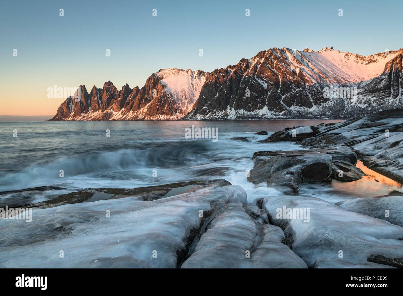 View of the Ersfjord at sunset, Oksneset, Senja, Norway - Stock Image