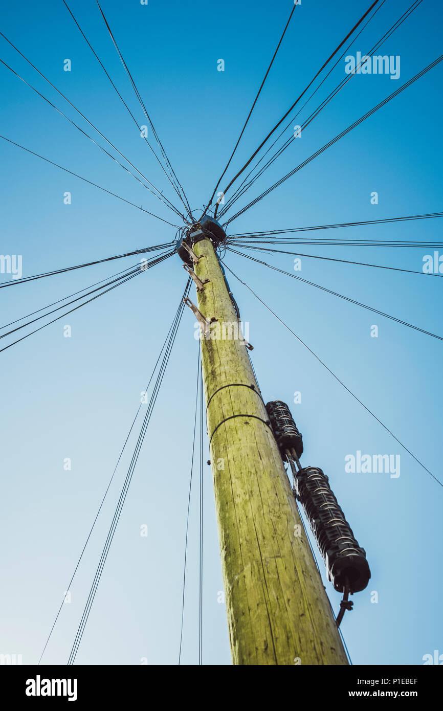 Power Pole with Cobweb Powerlines, Brighton, England - Stock Image