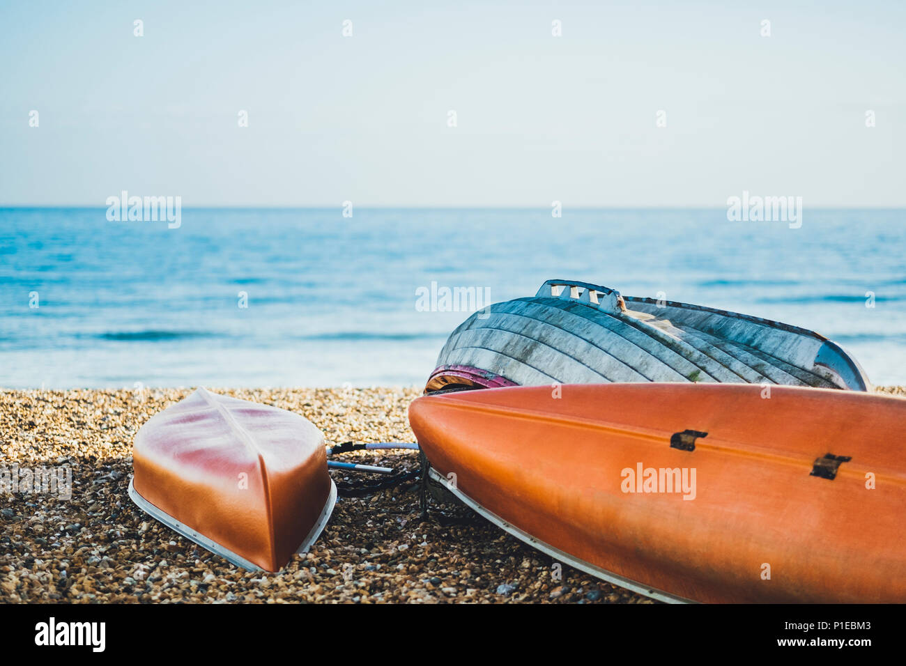 Boats on the beach, boat rentals, Brighton, England Stock Photo