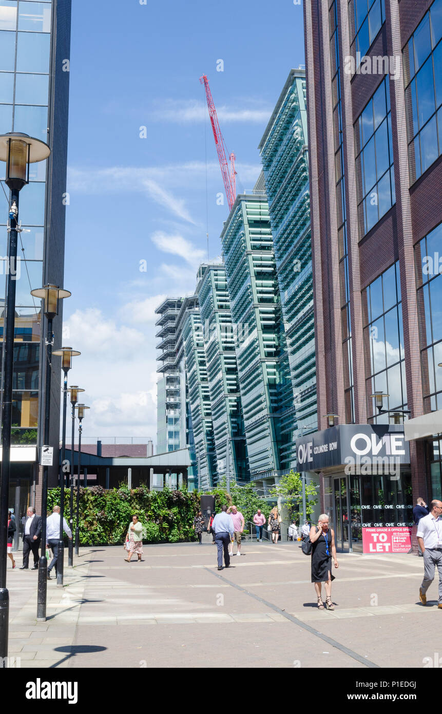 Modern office blocks at One Snowhill near Colmore Row and Snow Hill station in Birmingham city centre Stock Photo
