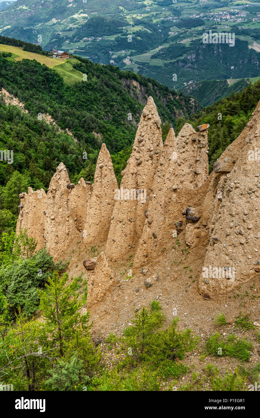 Earth pyramids, Collepietra - Steinegg, Trentino Alto Adige - South Tyrol, Italy Stock Photo