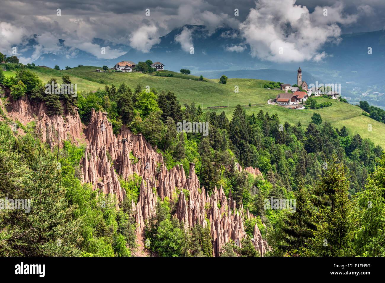 Earth pyramids, Renon - Ritten, Trentino Alto Adige - South Tyrol, Italy - Stock Image