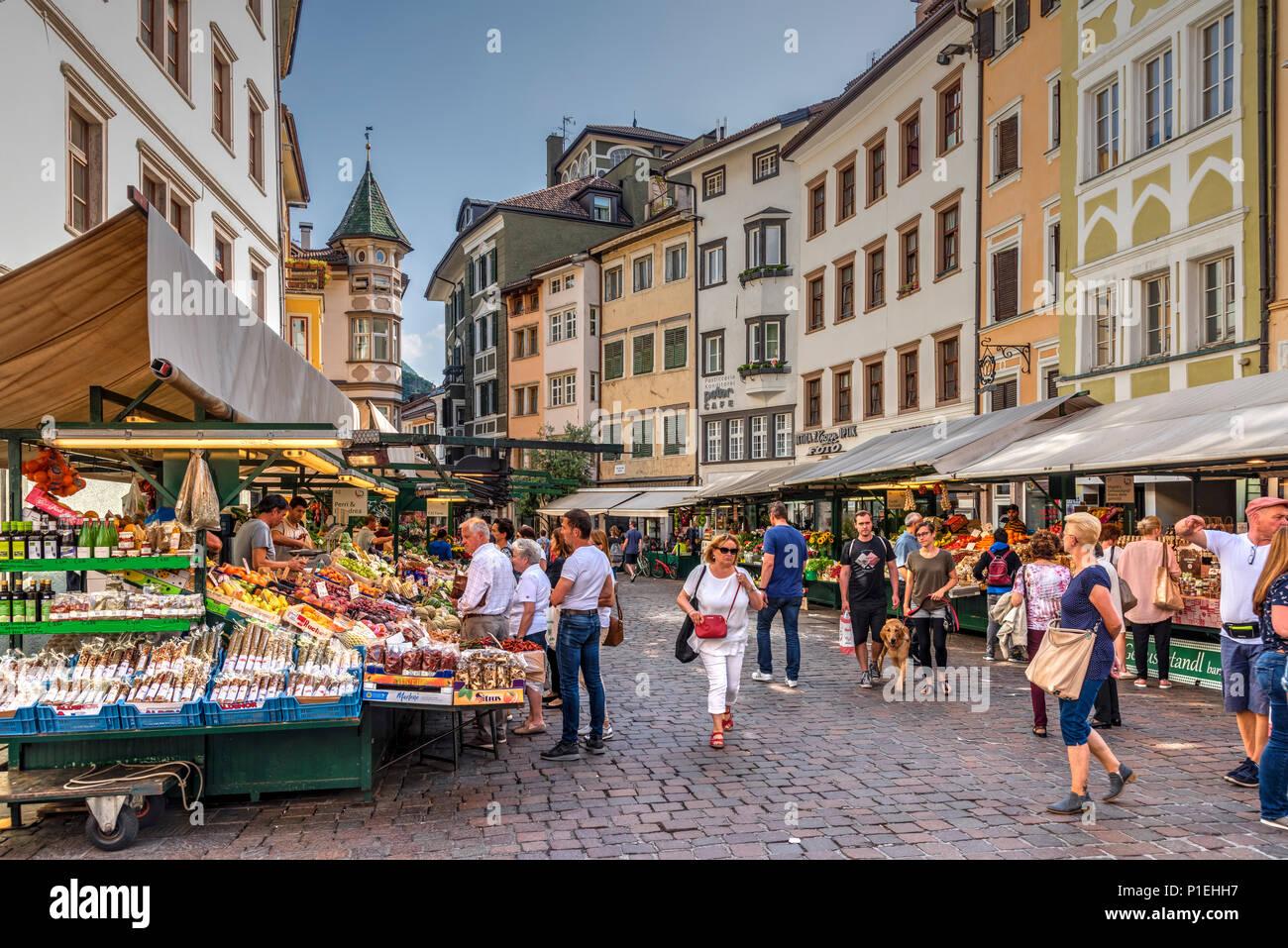 Piazza delle Erbe or Obstplatz square, Bolzano - Bozen, Trentino Alto Adige - South Tyrol, Italy - Stock Image