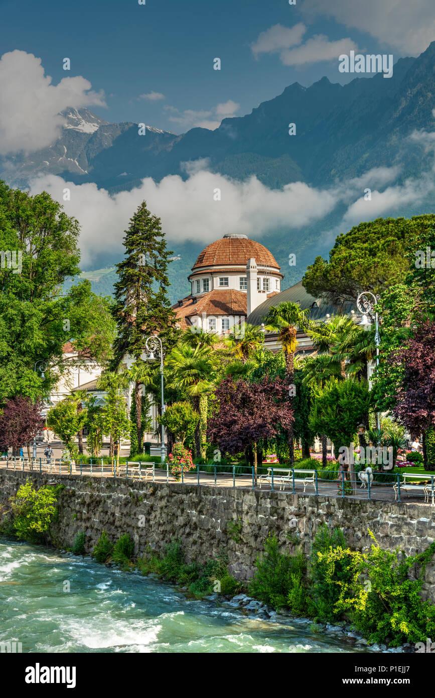 Kurhaus building, Merano - Meran, Trentino Alto Adige - South Tyrol, Italy - Stock Image