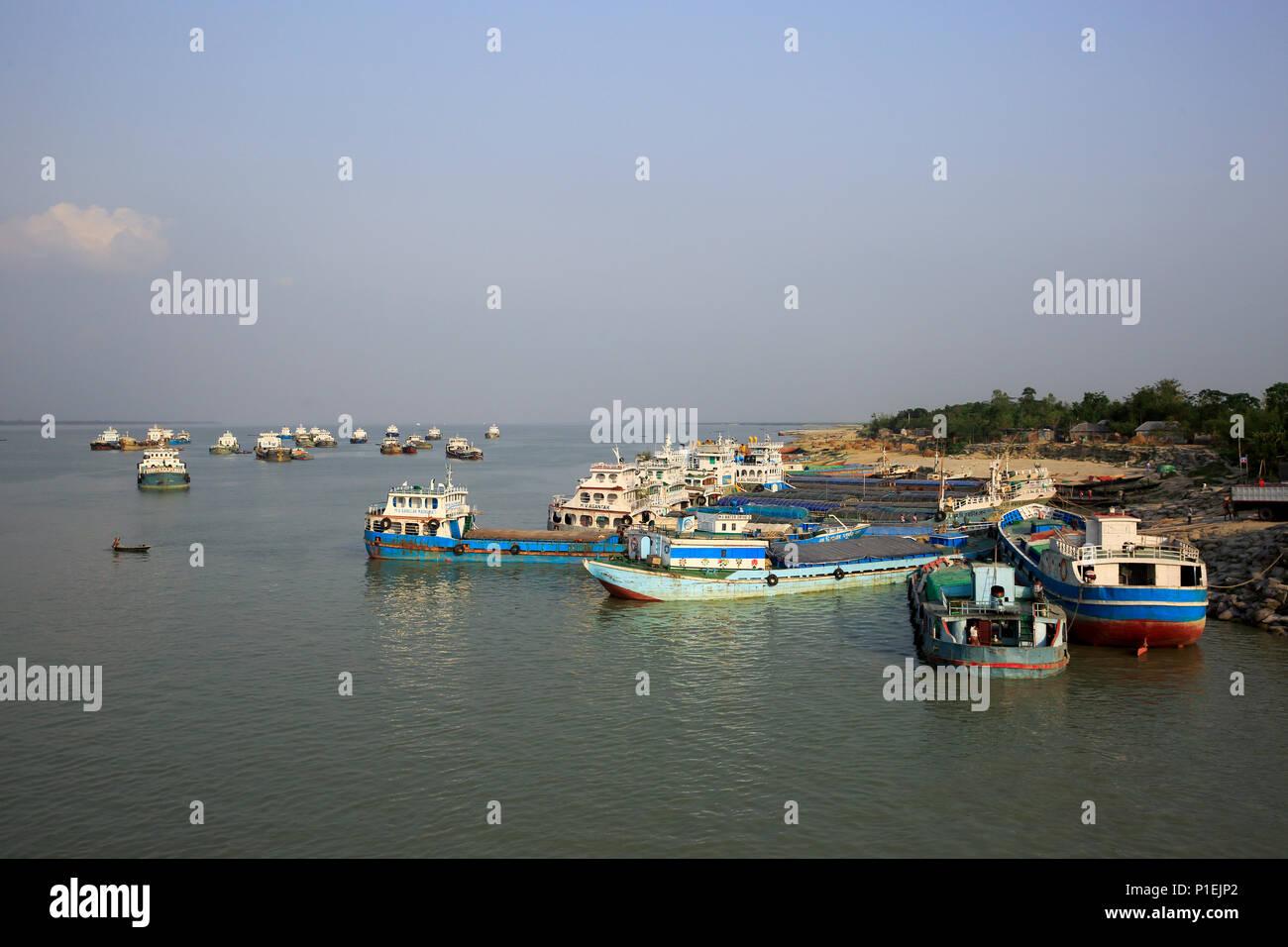 Cargo vessel anchored at the Daulatdia ghat, Rajbari, Bangladesh - Stock Image