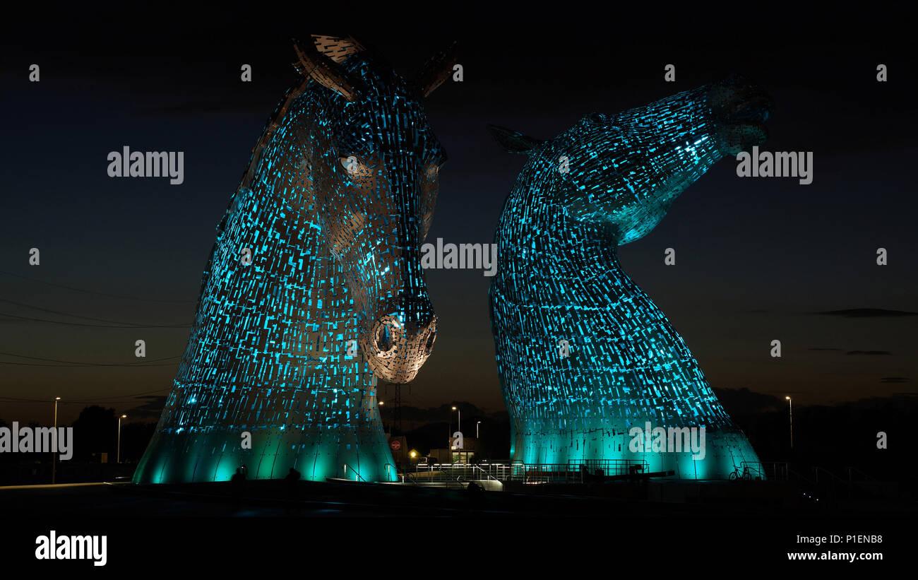 Europe, Scotland, England, The kelpies, illuminated horse figures,                              , Europa, Schottland, The Kelpies, beleuchtete Pferde - Stock Image