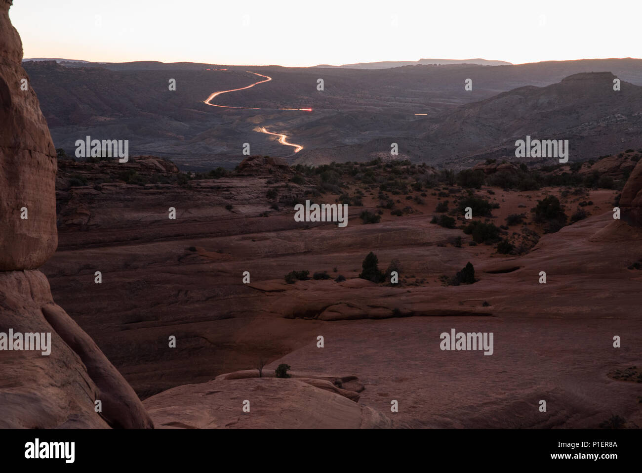 A pink sunset view over Arches National Park, Utah. - Stock Image