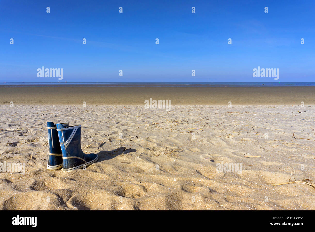 Empty Beach with rubber boots and seagull, Leerer Strand mit Gummistiefeln und Möwe - Stock Image