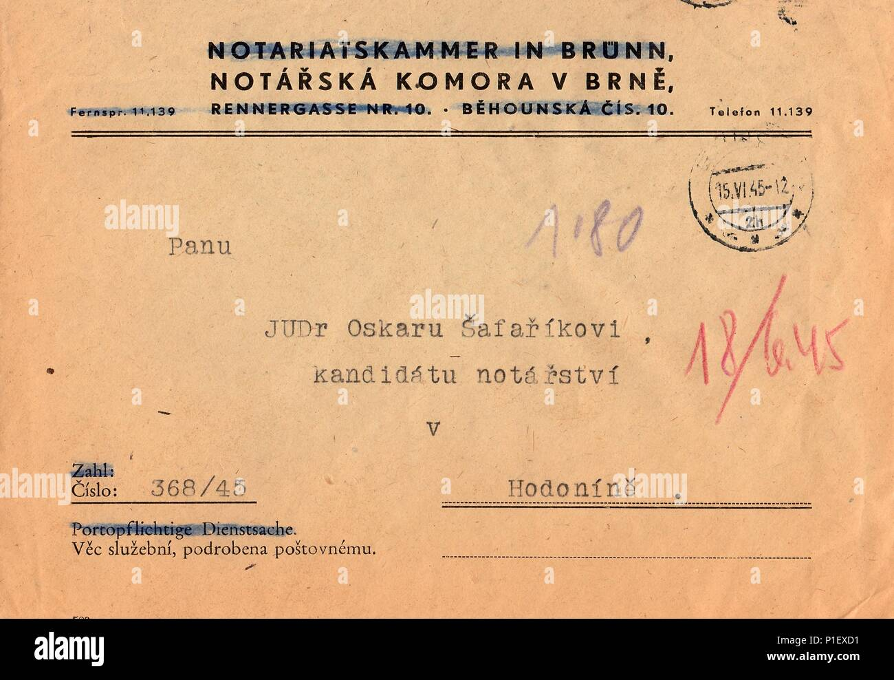 THE CZECHOSLOVAK REPUBLIC - JUNE 15, 1945: A vintage used envelope. Rich stain and paper details. Can be used as background. - Stock Image