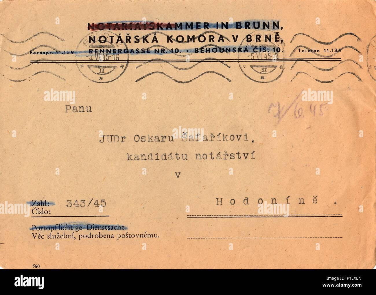 THE CZECHOSLOVAK REPUBLIC - JUNE 5, 1945: A vintage used envelope. Rich stain and paper details. Can be used as background. - Stock Image