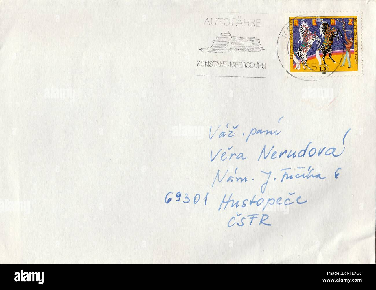 GERMANY - CIRCA 1992: A vintage used envelope and stamps. Rich stain and paper details. Can be used as background. - Stock Image