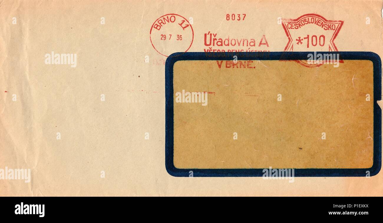 THE CZECHOSLOVAK REPUBLIC - JULY 29, 1936: A vintage used envelope. Rich stain and paper details. Can be used as background. - Stock Image