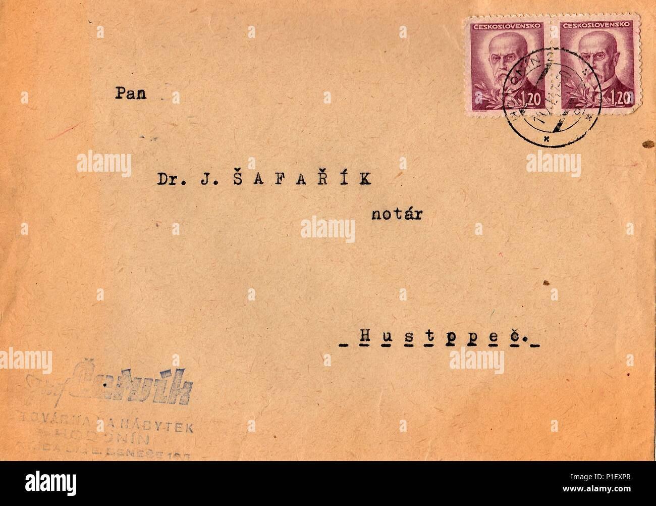 THE CZECHOSLOVAK REPUBLIC - CIRCA 1947: A vintage used envelope and stamps. Rich stain and paper details. Can be used as background. - Stock Image