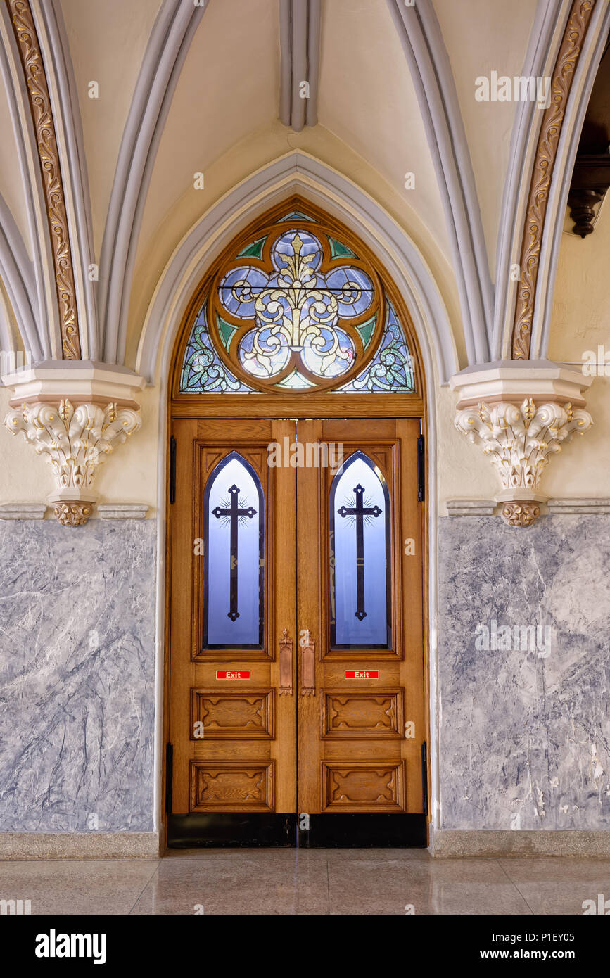 Church Interior Door Made Of Highly Decorated Oak And Stained Glass