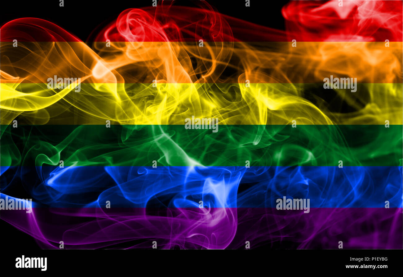 Gay smoke flag, LGBT pride flag Stock Photo
