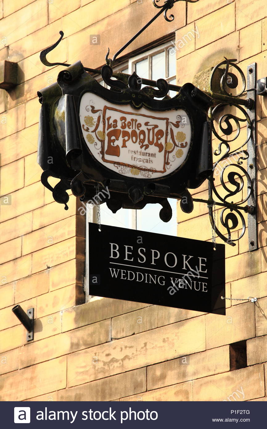 La Belle Epoque Bespoke Wedding Venue Signage Hanging Over The Entrance Of The Venue On King Street Knutsford Cheshire England Summer June 2018 - Stock Image