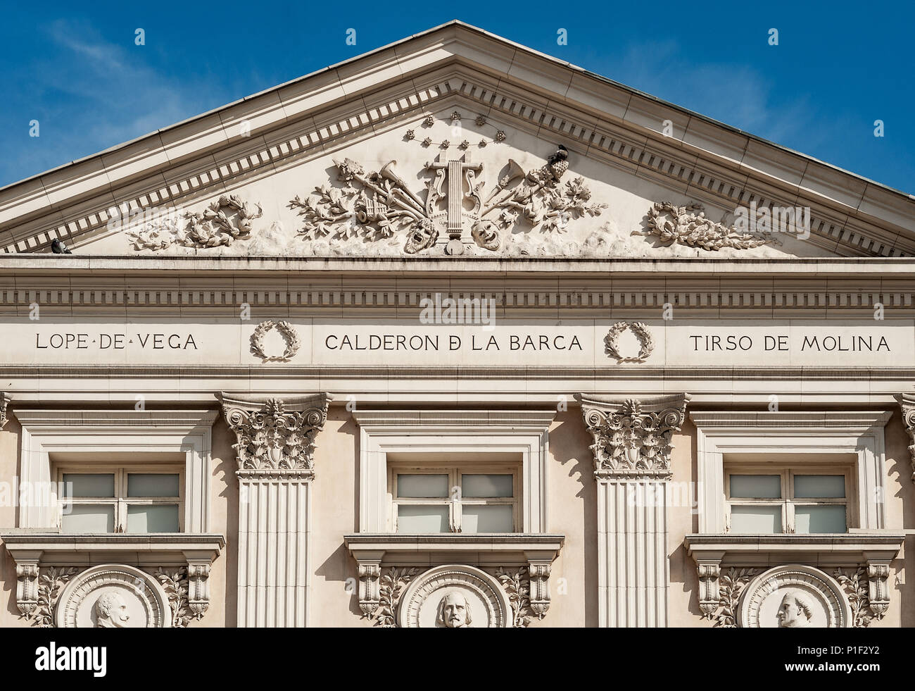 Exterior detail of the Teatro Espanol, Madrid, Spain. - Stock Image
