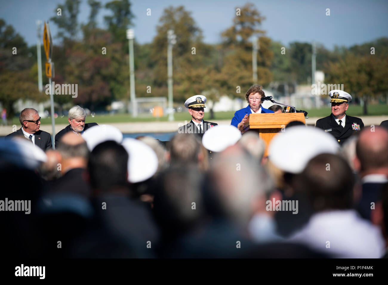 161021-N-DY073-035  ANNAPOLIS, Md. (Oct. 21, 2016) Barbara Mikulski, United States Senator for Maryland, speaks at the ground breaking ceremony for Hopper Hall at the United States Naval Academy (USNA). Hopper Hall, which will house USNA's Center for Cyber Studies, is the namesake of Rear Adm. Grace Hopper who is often referred to as 'The Mother of Computing'. (U.S. Navy photo by Petty Officer 3rd Class Brianna Jones/Released) - Stock Image