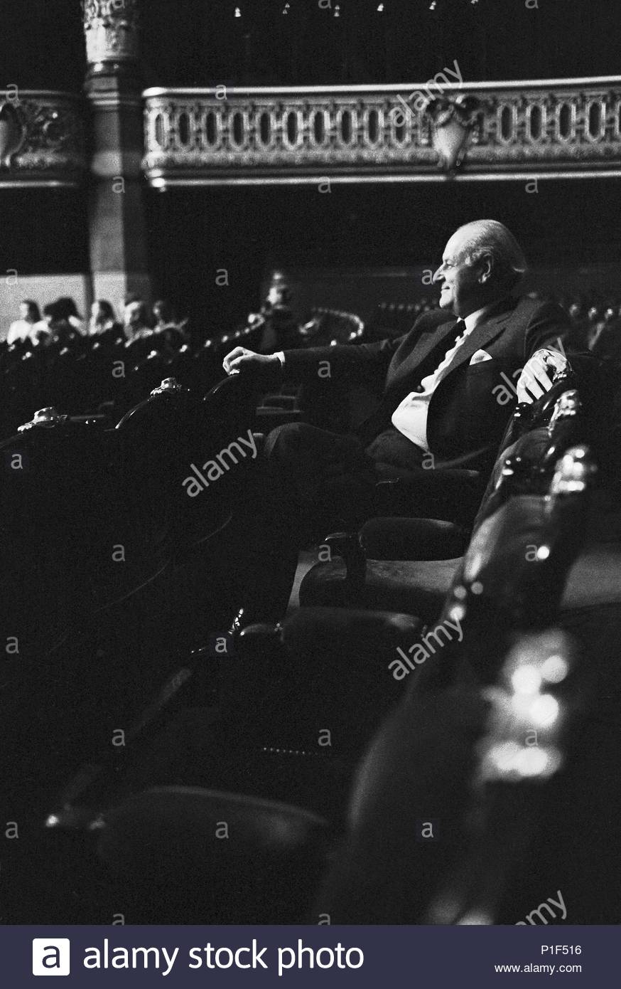 The Paris Opera in the Palais Garnier reopened in 1973 under its new director Rolf Liebermann. Liebermann watching a rehearsal of the Marriage of Figaro, opener of the new season. Paris Opera,1973. Author: Erich Lessing (b. 1923). Location: Operahouse Palais Garnier, Paris, France. - Stock Image