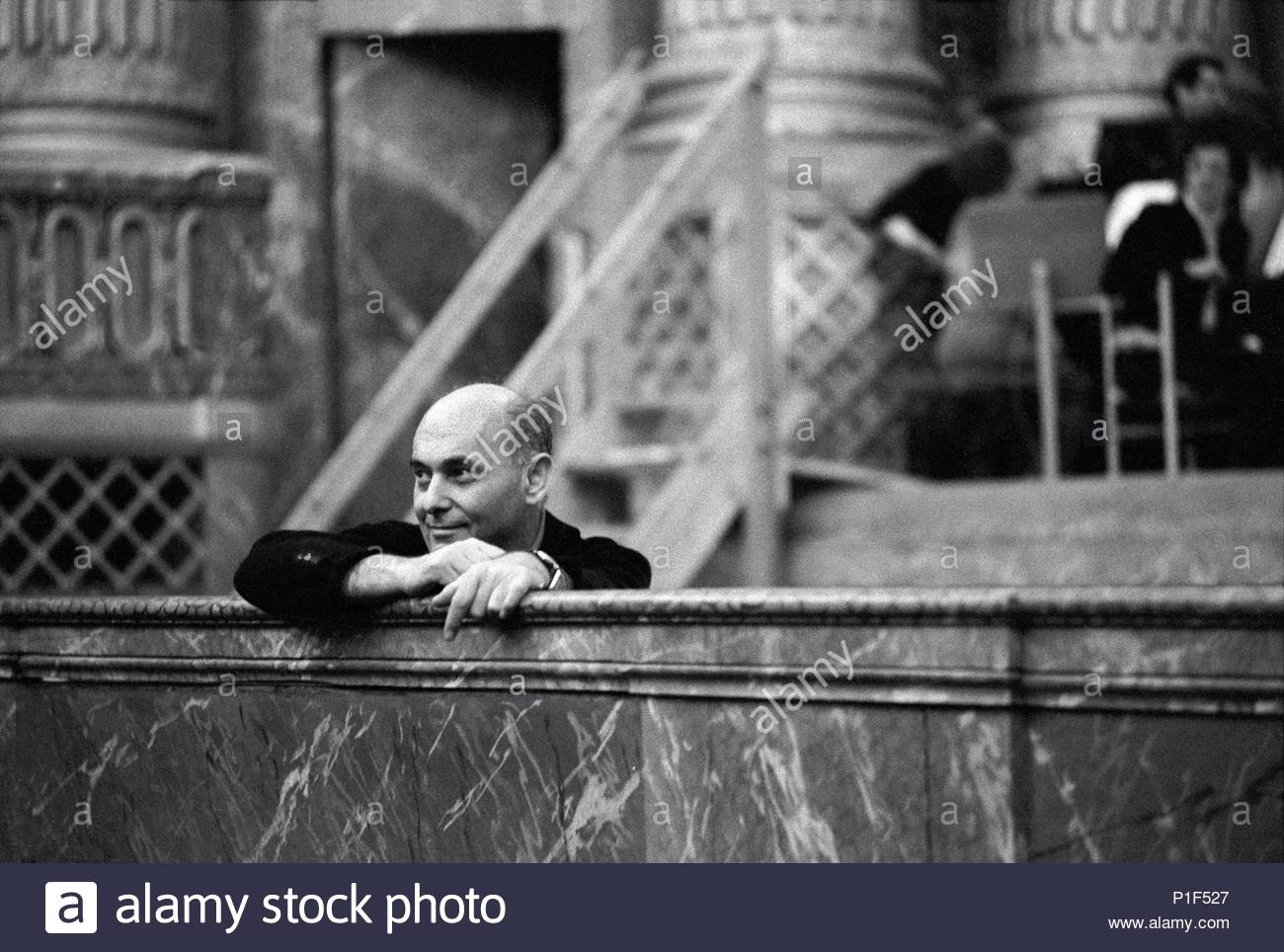 The Paris Opera in the Palais Garnier opened in 1973 under its new director Rolf Liebermann. George Solti who conducted the Marriage of Figaro, watching a rehearsal. Opera de Versailles,1973. Location: Operahouse Palais Garnier, Paris, France. - Stock Image